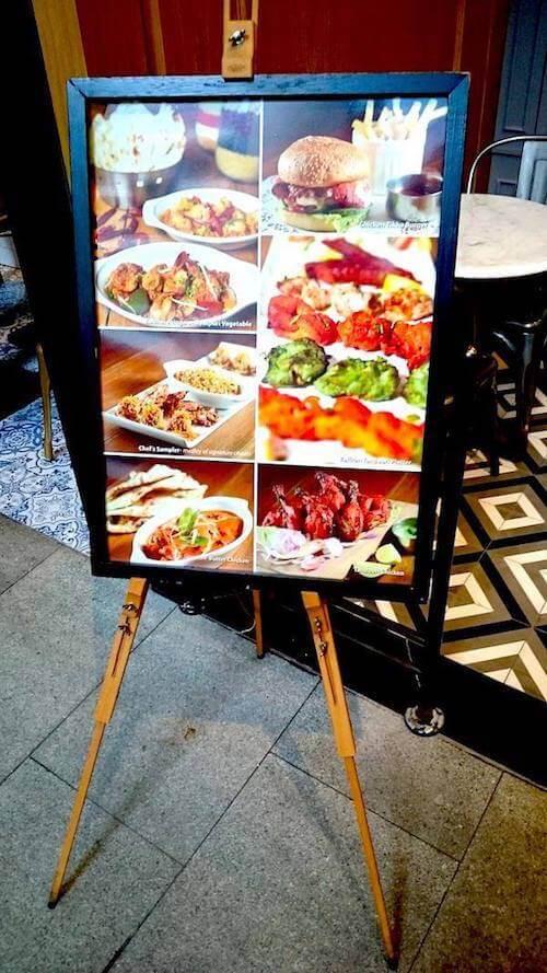 Zaffron Kitchen Menu Display