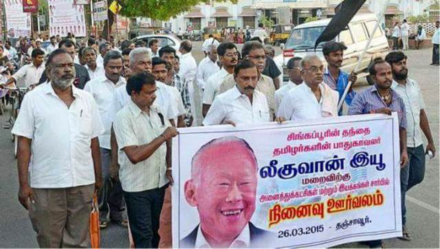 "People in India walking around with Banner of Lee Kuan Yew. ""Singapore's Father is the saviour of Tamil workers from India - In his Memory this march"""