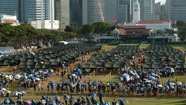 SAF set up tents to provide shade under the hot weather Photo Credit: Straits Time - Desmond Foo