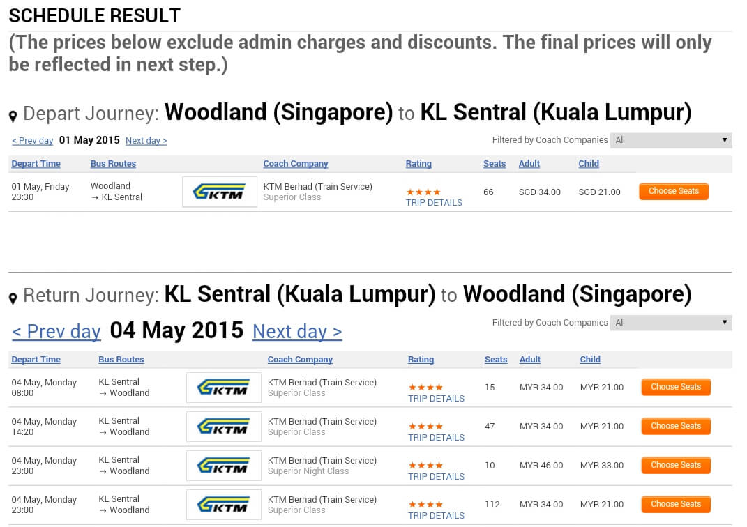 Random Check: Woodlands Singapore to Kuala Lumpur Central Station