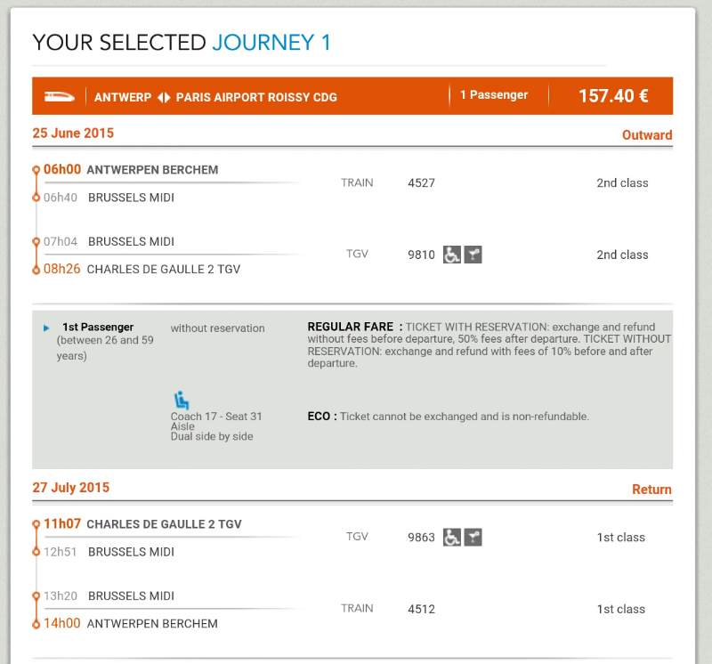 Round-trip trains ticket price from Antwerp-Berchem to Paris CDG Airport